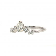 White Diamond 0.32 Carat Pear Shape With Round White Accent Diamond Ring In 14k White Gold