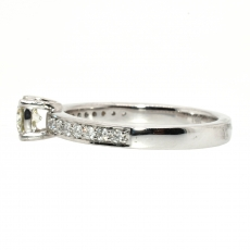 White Diamond 0.32 Carat Round With White Accent Diamond Engagement Ring In 14k White Gold