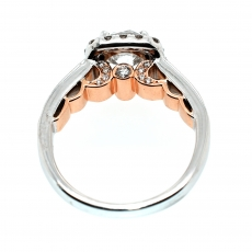 White Diamond 1.53 Carat Round With White Accent Diamond Engagement Halo Ring In 14K Dual Tone (White/Rose) Gold