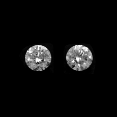 White Diamond Round 3.2mm Matching Pair Approximately 0.28 Carat