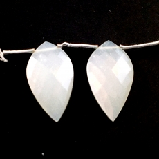 White Moonstone Drops Leaf Shape 31x16mm Drilled Beads Matching Pair