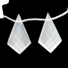 White Moonstone Drops Shield Shape 25x14mm Drilled Beads Matching Pair