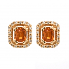 Yellow Sapphire 0.75 Carat With Accented Diamond Stud Halo Earring in 14K Yellow Gold