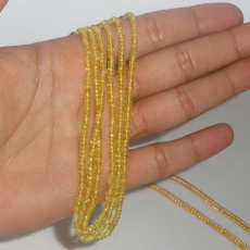 Yellow Sapphire 114 Carat Rondelle 2-3mm Faceted Bead 3 Strand Ready To Wear Necklace