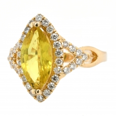 Yellow Sapphire 2.41 Carat With Accented Diamond Ring In 14K Yellow Gold