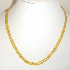 Yellow Sapphire 75 Carat Rondelle 2-4mm Faceted Bead 2 Strand Ready To Wear Necklace