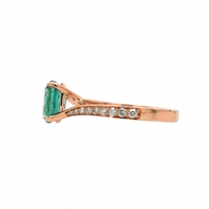Zambian Emerald Oval 1.63 Carat Ring With Diamond Accent in 14K Rose Gold