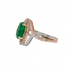 Zambian Emerald Oval 2.30 Carat With Diamond Double Halo Cocktail Ring In 14K Tri Color ( Yellow / Rose / White ) Gold
