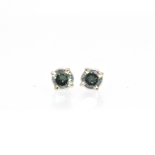 0.34 Carat Green Diamond Stud Earring In 14k White Gold