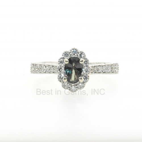 0.47 Carat Alexandrite And Diamond Ring In 14k White Gold