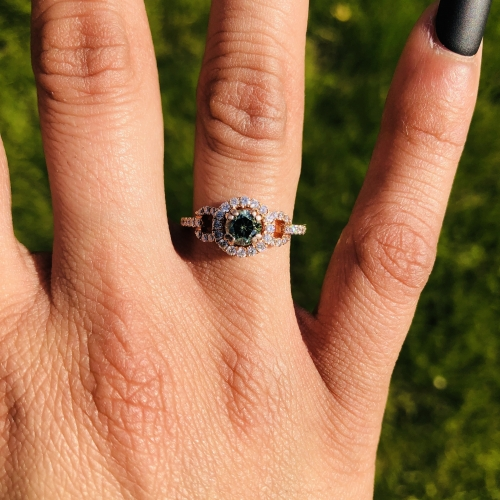 0.57 CARAT GREEN DIAMOND WITH ACCENT WHITE DIAMOND ENGAGEMENT RING IN 14K  ROSE GOLD