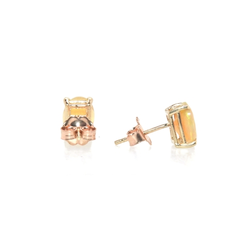 0.95 Carat Ethiopian Opal Oval Stud Earring In 14k Rose Gold