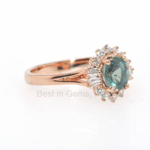 1 Carat Natural Excellent Color Change Alexandrite And Diamond Ring In 14k Rose Gold
