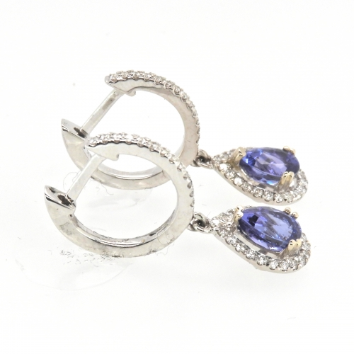 1.10 Carat Tanzanite And Diamond Halo Earring In 14k White Gold