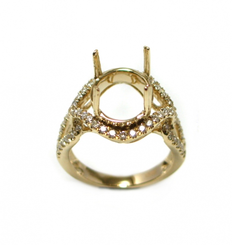 11x9mm Oval Semi Mount Ring In 14k Yellow Gold With White Diamond (rso930)
