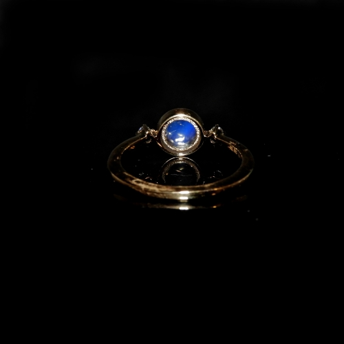 1.25 Carat Rainbow Moonstone And Diamond Ring In 14k Yellow Gold