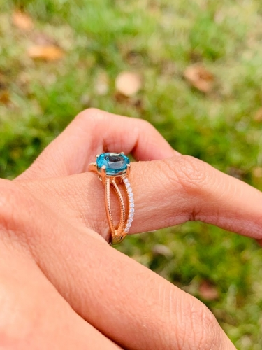 1.44 Carat Apatite And Diamond Ring In 14k Rose Gold