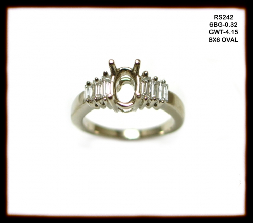 14k White Gold And Diamond Ring Semi Mount (rs242)