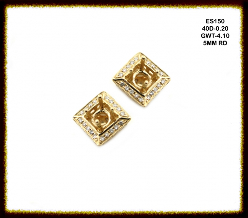 14k Yellow Gold And Diamond Earring Semi Mount(es150)