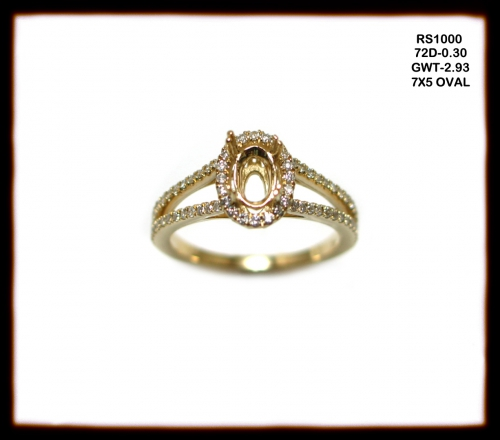 14k Yellow Gold And Diamond Ring Semi Mount (rs1000)