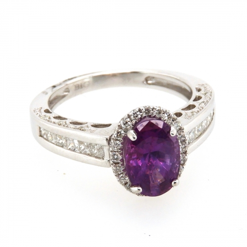 2.04 Carat Pink Sapphire And Diamond Ring In 14k White Gold