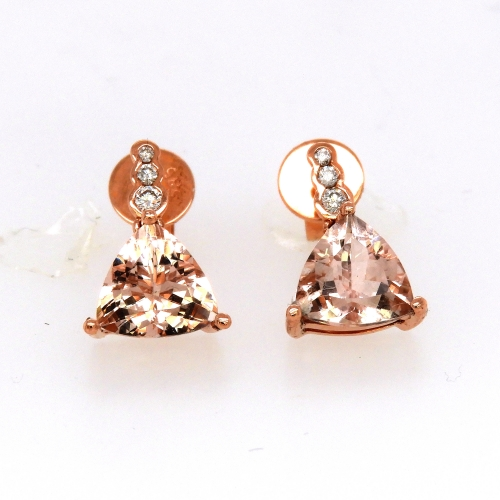 2.28 Carat Morganite And Diamond Earring In 14k Rose Gold