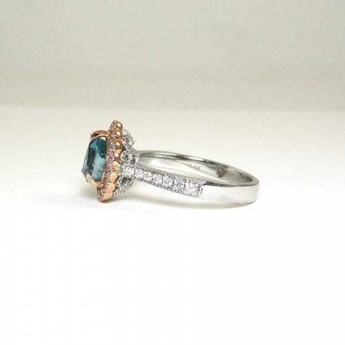 2.40 Carat Blue Zircon And Diamond Ring In 14k Dual Tone(rose / White) Gold