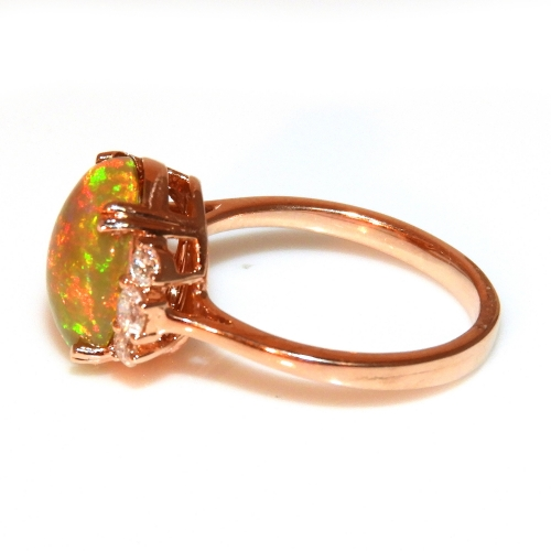 2.71 Carat Ethiopian Opal And Diamond Ring In 14k Rose Gold
