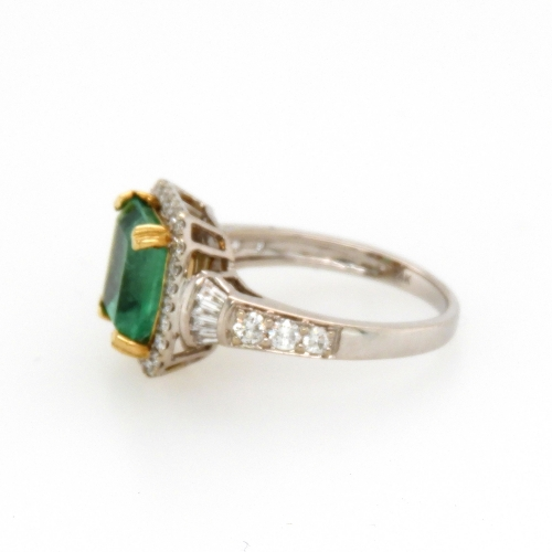 2.76 Carat Colombian Emerald And Diamond Ring In 14k Dual Tone ( Yellow/white) Gold