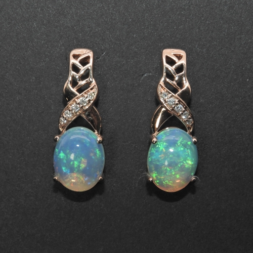 3.09 Carat Ethiopian Opal And Diamond Earring In 14k Rose Gold