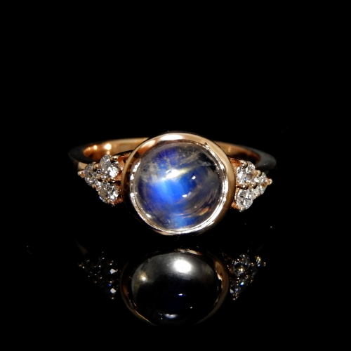 3.23 Carat Rainbow Moonstone And Diamond Ring In 14k Rose Gold