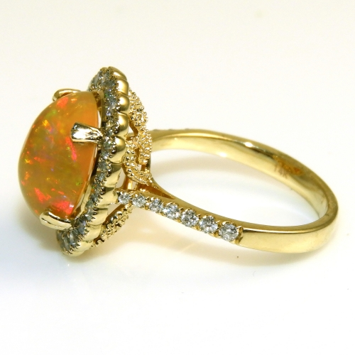 3.28 Carat Ethiopian Opal And Diamond Ring In 14k Yellow Gold