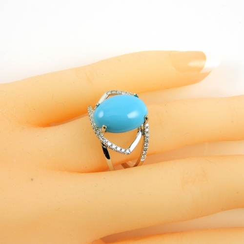 3.56 Carat Aaa Quality Turquoise And Diamond Ring In 14k White Gold