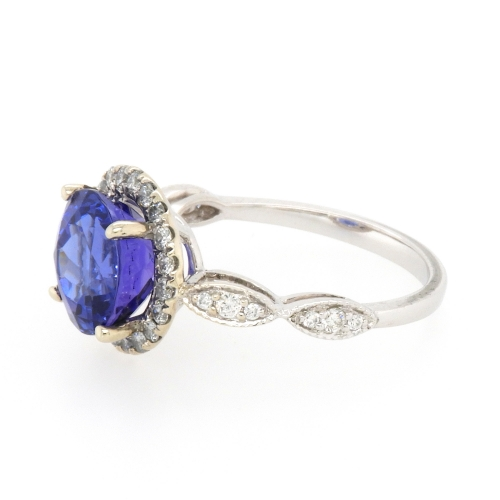 3.57 Carat Tanzanite And Diamond Ring In 14k White Gold