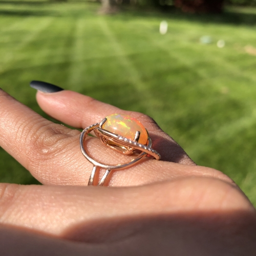 4.07 Carat Ethiopian Opal And Diamond Ring In 14k Rose Gold
