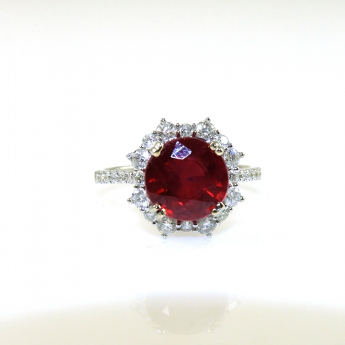 4.10 Carat Madagascar Ruby And Diamond Ring In 18k White Gold