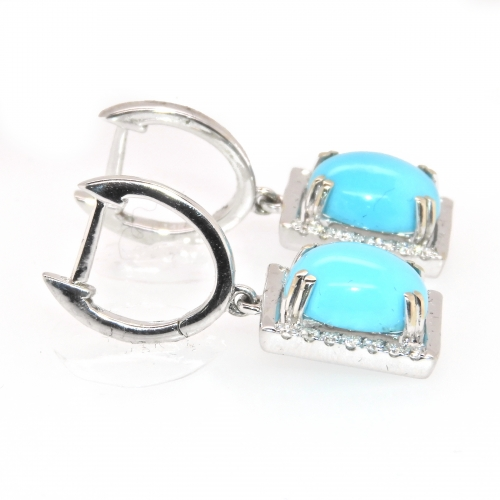 4.75 Carat Turquoise And Diamond Earring In 14k White Gold