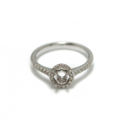 4mm Round  Semi Mount Ring In 14k White Gold With White Diamond Halo (rshr013)