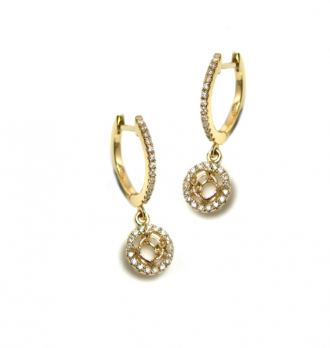4mm Round Earring Semi-mount In 14 Yellow Gold With Diamond(eshr148)