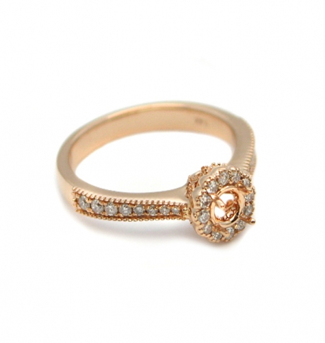 4mm Round Semi Mount Halo Ring In 14k Rose Gold ( Rshr027 )