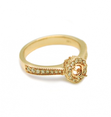 4mm Round Semi Mount Halo Ring In 14k Yellow Gold ( Rshr027 )