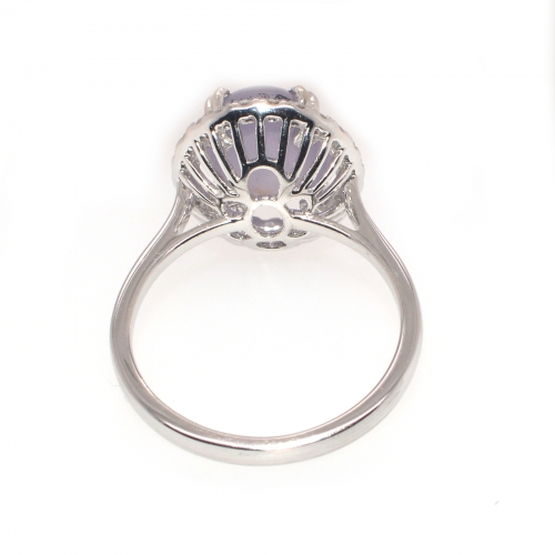 5.72 Carat Natural Star Sapphire And Diamond Ring In 14k White Gold
