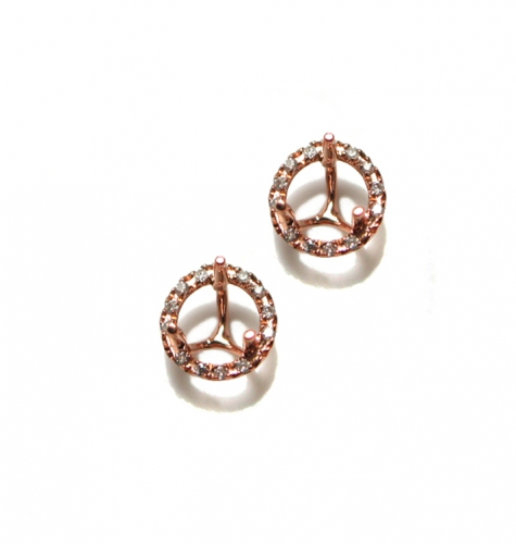 5mm Round Earring Semi Mount In 14k Rose Gold With White Diamond