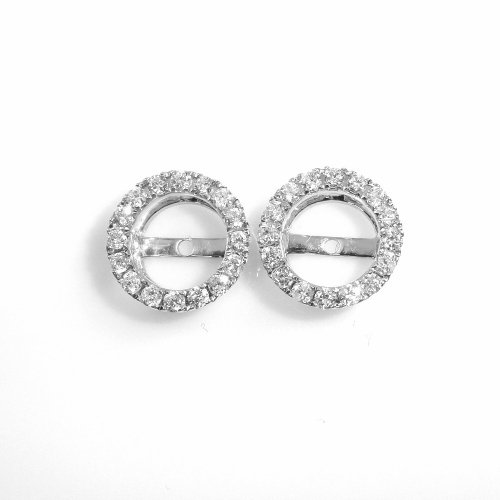 6.5mm Round Diamond Earring Jacket In 14k White Gold