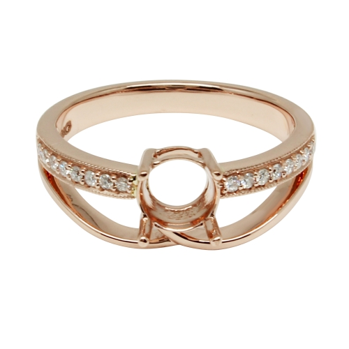 6mm Round Semi Mount Ring In 14k Rose Gold (rsr150)