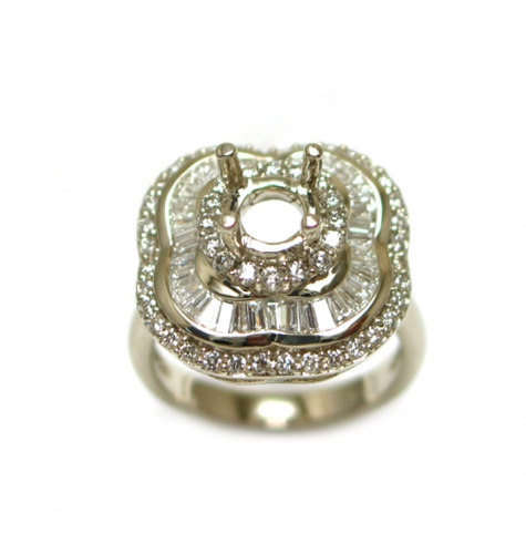 6mm Round Semi Mount Ring In 14k White Gold With White Diamond (rsr1088)