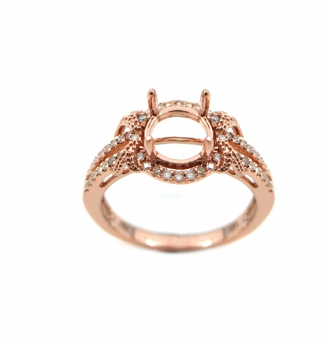 6mm Round Semi Mount Ring Setting In 14k Yellow Gold (rsr002)