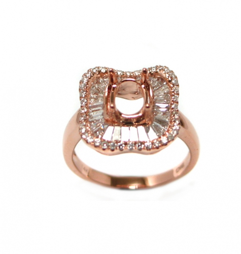 7x5mm Oval Semi  Mount With Diamond Halo Ring In 14k Rose Gold(rso1141)