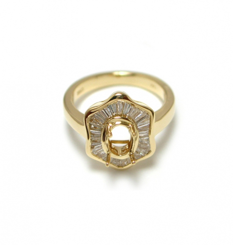 7x5mm Oval Semi Mount Ring In 14k Yellow Gold With Diamond(rso111)