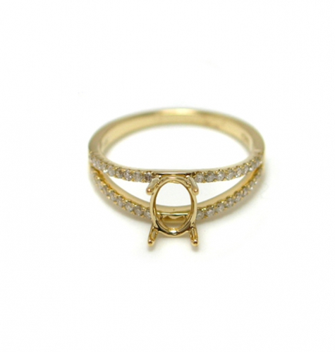 7x5mm Oval Semi Mount Ring In 14k Yellow Gold With White Diamond (rso035)